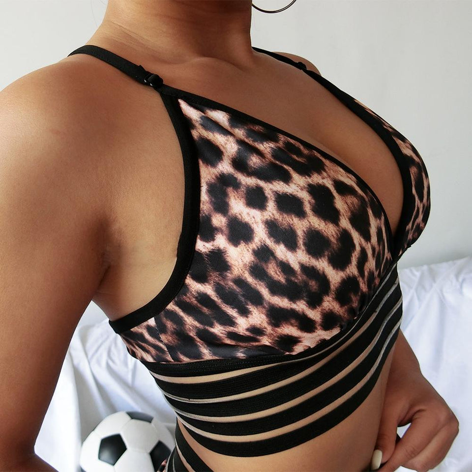Women Leopard Printed Hot Sexy Workout 2 Piece Set