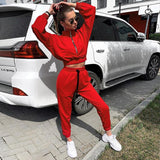 Women's Red Loose Hooded Tracksuits 2 Piece Set