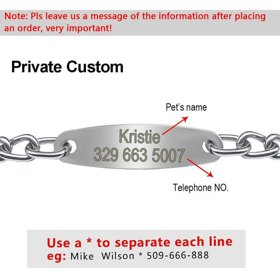 Dog Choke-Check Chain Engraved And Personalised With ID Plate.