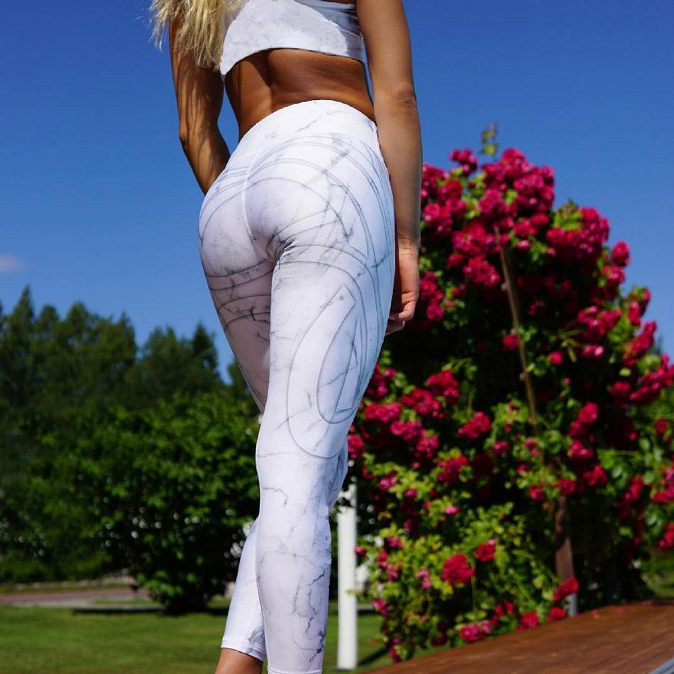 Abstract White Workout Leggings