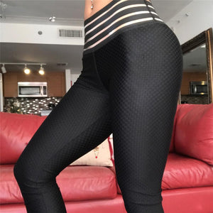 Striped High Waist Anti-cellulite Tummy Control Textured Push Up Leggings