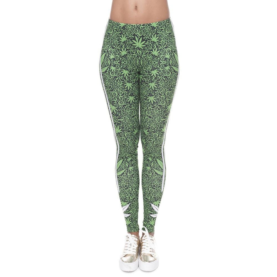Weeds Striped 3D Print Fitness Leggings