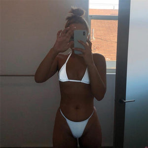 Sexy Silver Reflective Bikini Beach Club Two-Piece Set