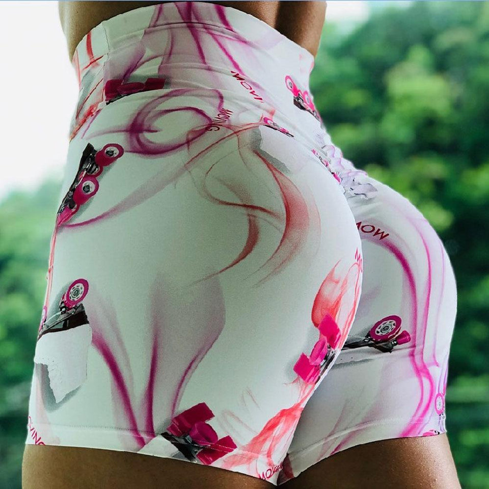 High Waisted Keep Moving Print Push Up Workout Booty Shorts