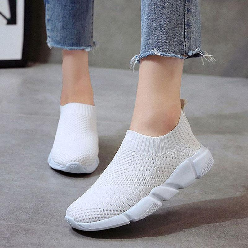 2020 New Flyknit Sneakers Women Breathable Slip On Flat Shoes