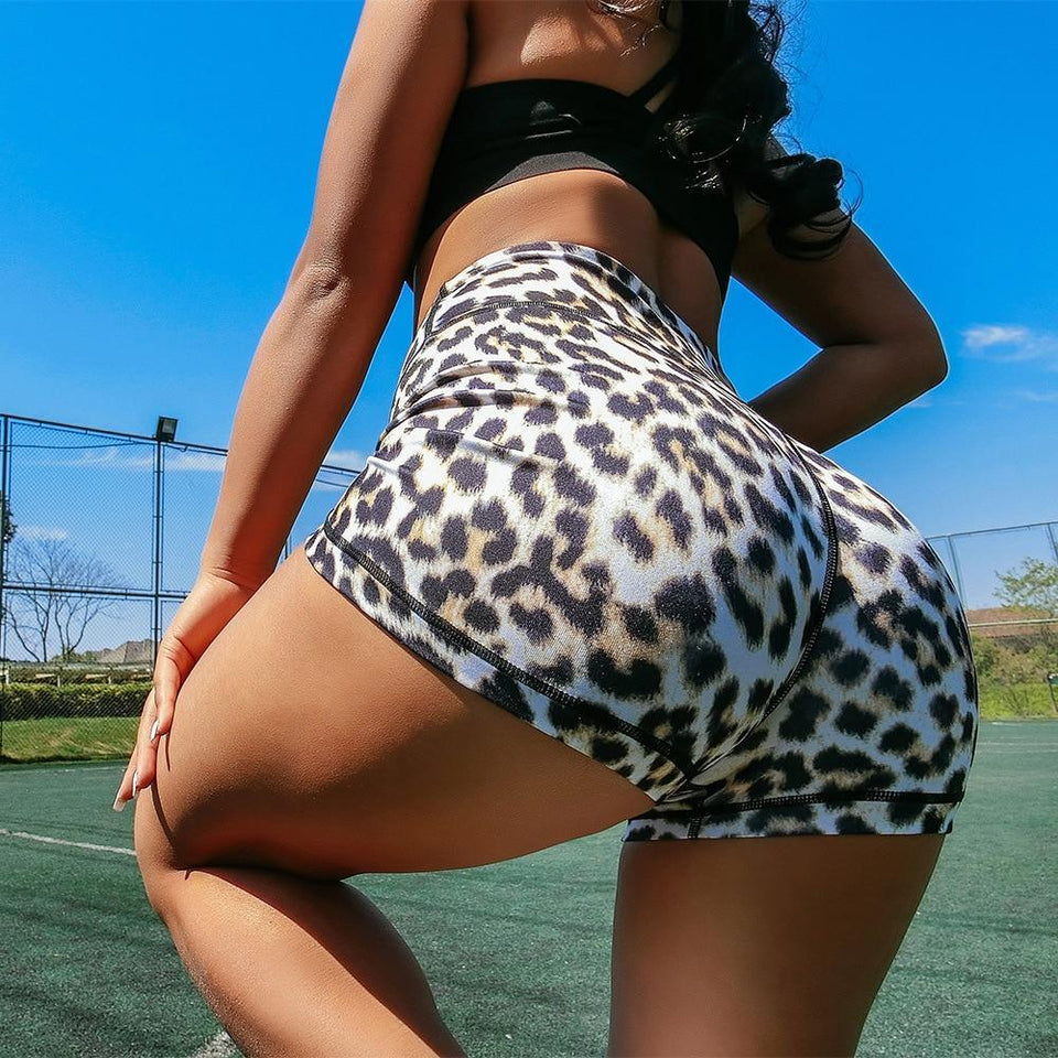 Leopard Push Up Booty Workout Shorts