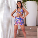 Handcrafted Sequins Holographic 2 Piece Bikini Top and Skirt Set