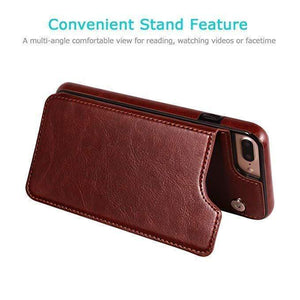 Retro PU Leather Wallet Case For iPhone