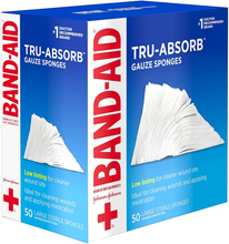 Load image into Gallery viewer, Band Aid Brand First Aid Products Tru-Absorb Gauze Sponges for Cleaning Wounds, 4 in x 4 in, 50 ct