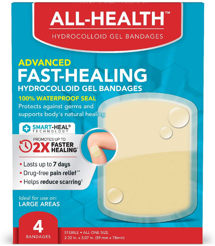 All Health All Health Advanced Fast Healing Hydrocolloid Gel Bandages, Large Wound Dressing, 4 ct | 2X Faster Healing for First Aid Blisters or Wound Care