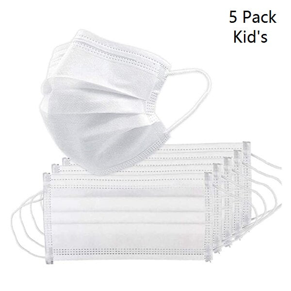 Kids 5 Pack 3 Layer Protective Mask