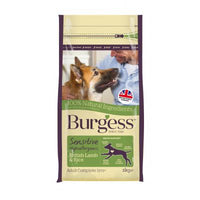 Burgess Sensitive Dog Food Dry Adult Dog Hypoallergenic Lamb Rice 12.5KG