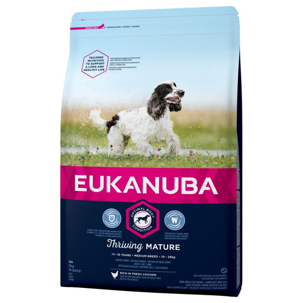 Eukanuba Mature Medium Breed Dry Dog Food Senior Kibble Chicken 15KG