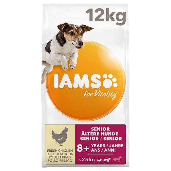 IAMS Senior Dry Dog Food Vitality Mature Small Medium Dogs Chicken 12KG