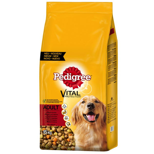 Pedigree Adult Complete Dry Dog Food Vital Protection Beef 15KG