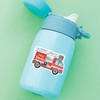 Fire Engine Die Cut Name Label on Reusable Water Bottle