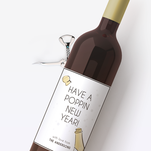 Poppin New Year Wine Labels
