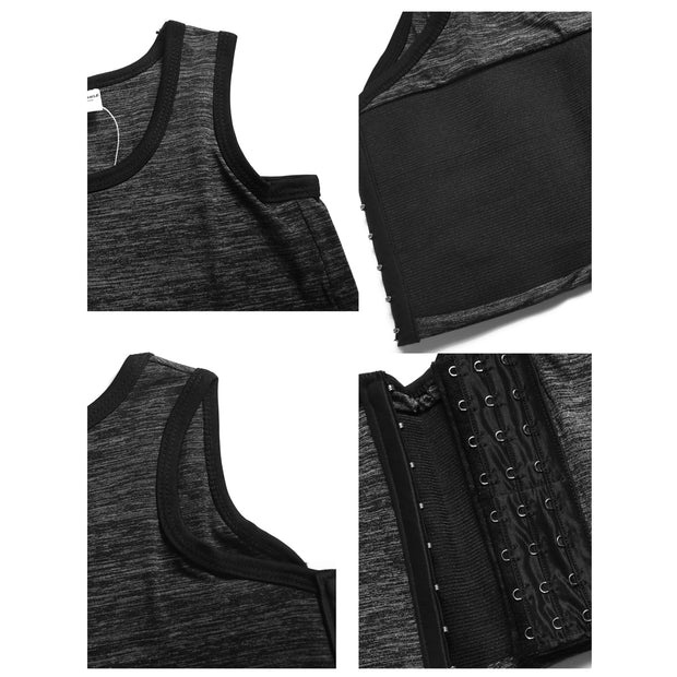 Breathable Yoga Cotton Elastic Band Colors Chest Binder-Dark Gray