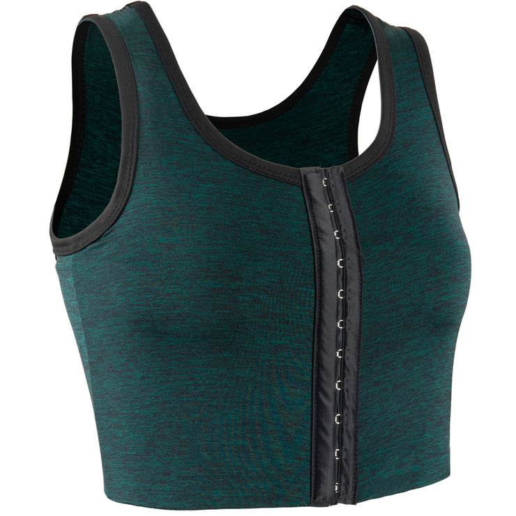 3 Rows Central Clasp Chest Binder Tank Top-Green