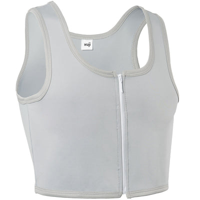 Women Tomboy FTM Zip Up Elastic Chest Binder Breathable Bamboo Slim Fit Tank Top-Grey