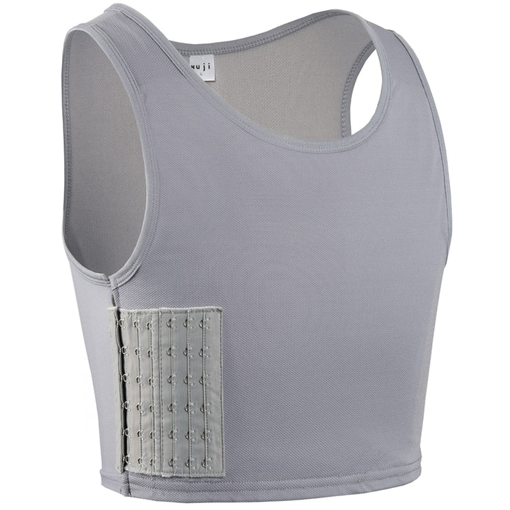 Women Tomboy FTM Transgender Elastic Breathable Half Chest Binder-Gray