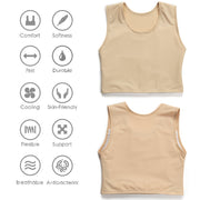 Women Transgender Tomboy FTM Breathable Half Chest Binder-Khaki