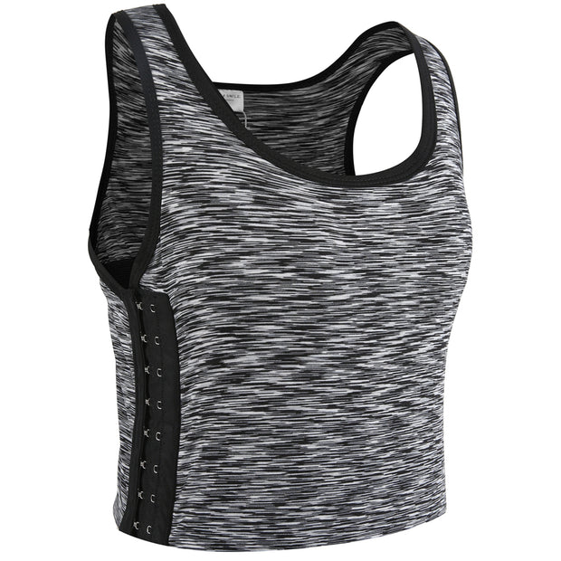Breathable Yoga Cotton Elastic Band Colors Chest Binder-Light Gray