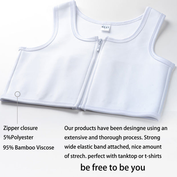 Women Tomboy FTM Zip Up Elastic Chest Binder Breathable Bamboo Slim Fit Tank Top-White