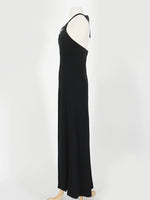 70's Black Feather Halter Dress
