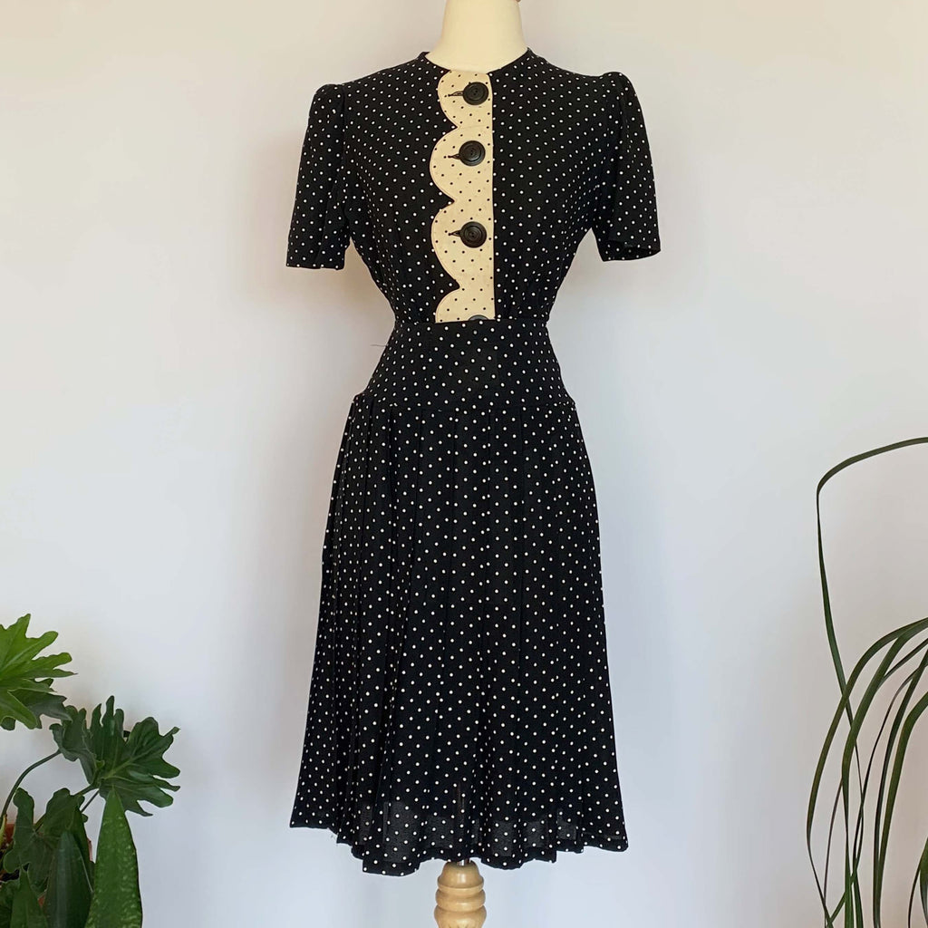 40's Black Polka Dot Blouse & Skirt Set