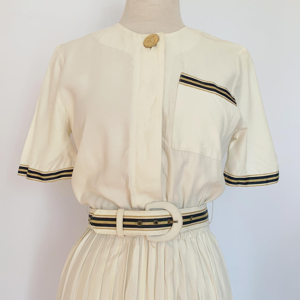 80's White Nautical Dress w/ Belt