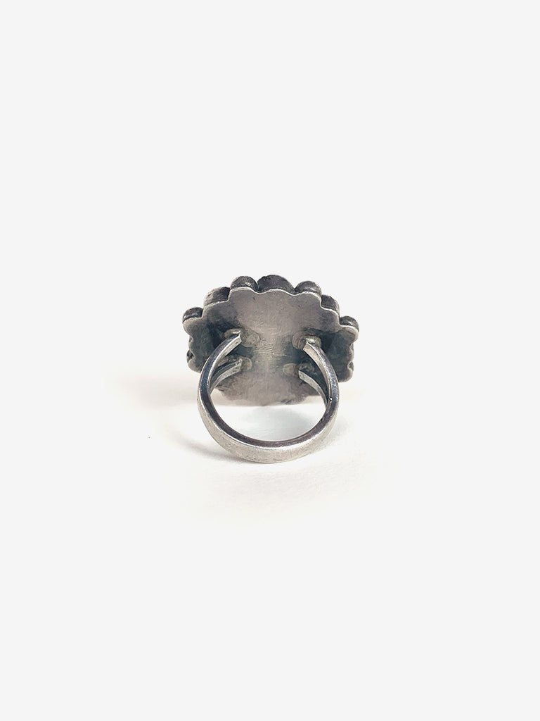 1960's Large Flower Silver & Coral Ring