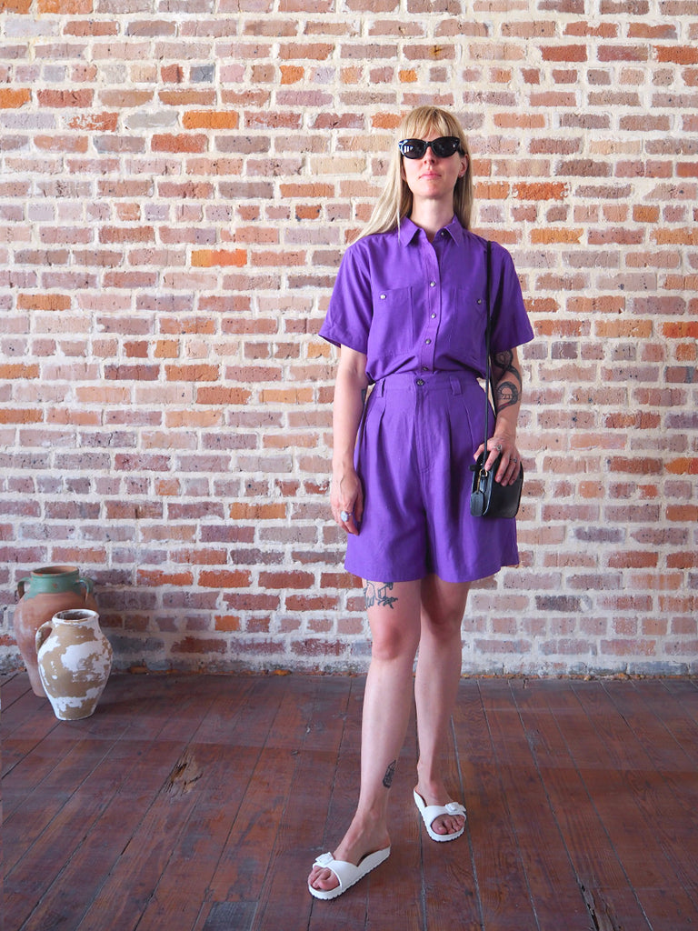 Purple Raw Silk Top & Short Set