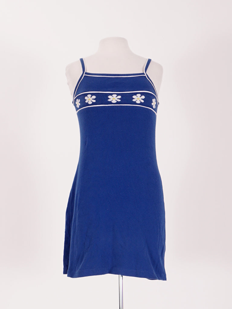 90's Blue Flower Mini Dress