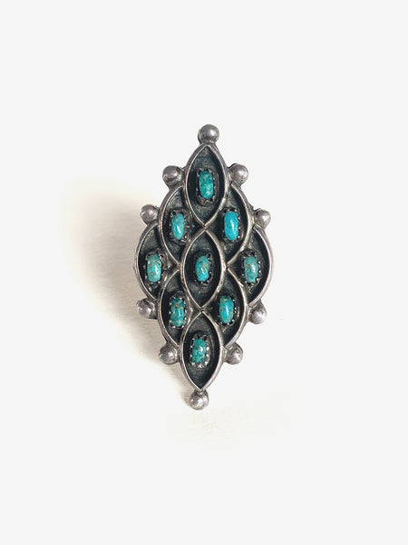 1960's Intricate Large Diamond Shaped Silver & Turquoise Ring