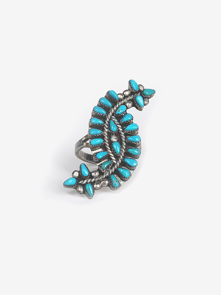 Curved Silver & Turquoise Ring