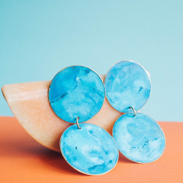 Double Cobalt Disc Earrings