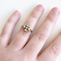 1940's 10K Gold Opal Cross Shaped Cluster Ring