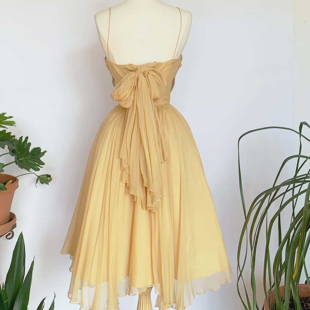 50's Golden Beaded Gown w/ Full Skirt
