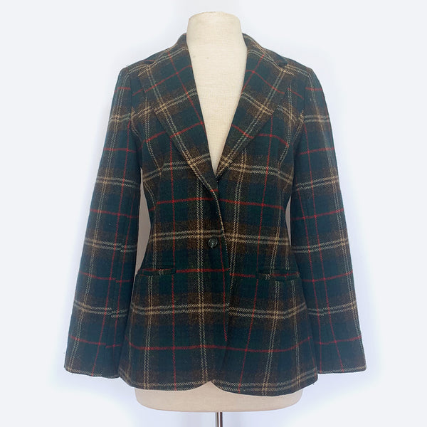 Green Plaid Wool Blazer