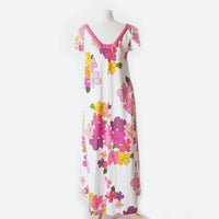 60's Pink & White Floral Maxi Dress