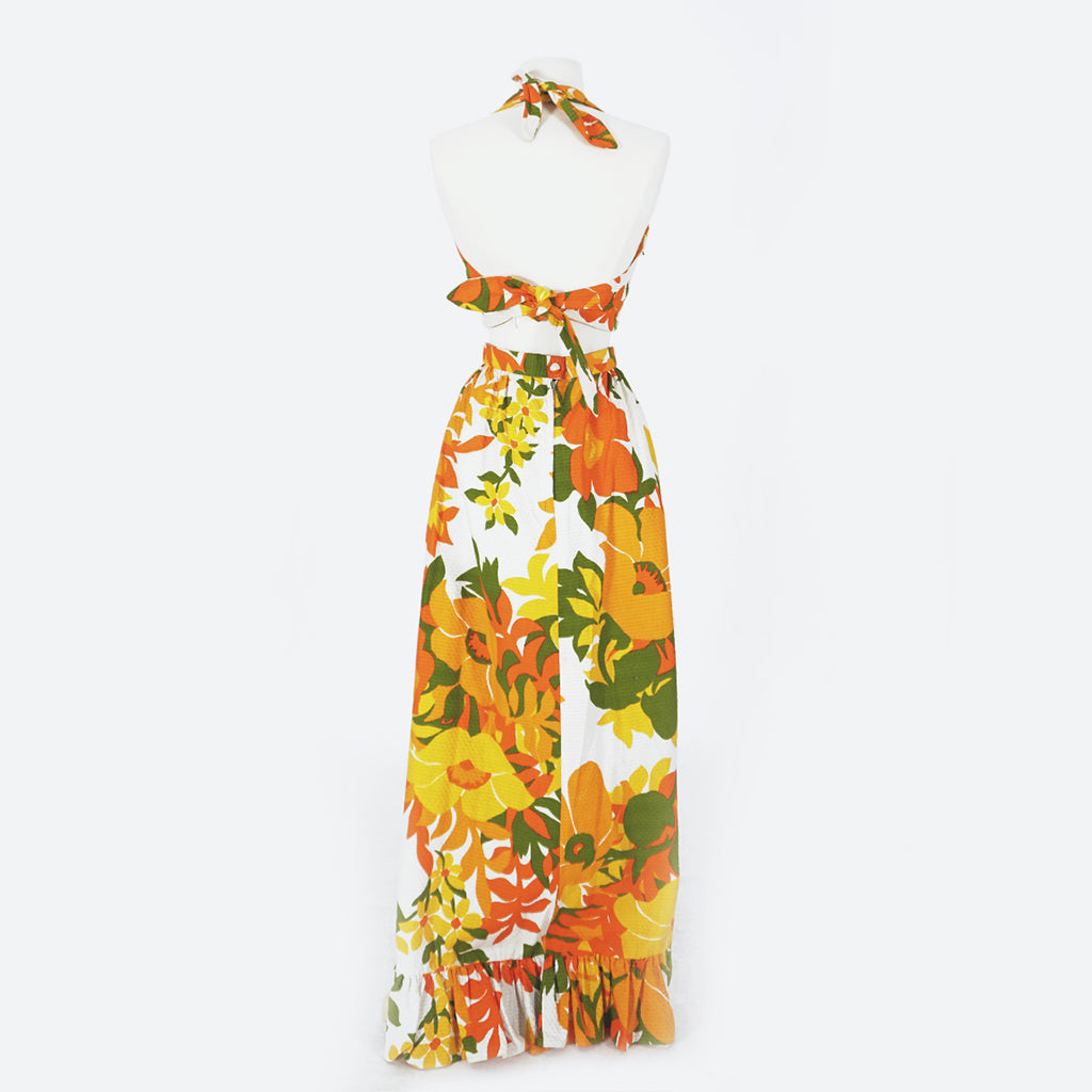 70's Orange Hawaiian Print Skirt & Top Set