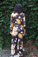 70's Orange & Black Flower Pant & Blouse Set 3 Piece