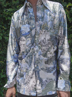 70's Blue Art Nouveau Print Button Down