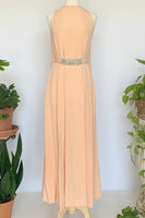 60's Peach Goddess Gown w/ Rhinestone Belt