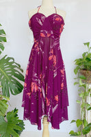 70's Purple Floral Halter Dress