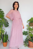 70's Mauve Sheer Flutter Sleeve Dress