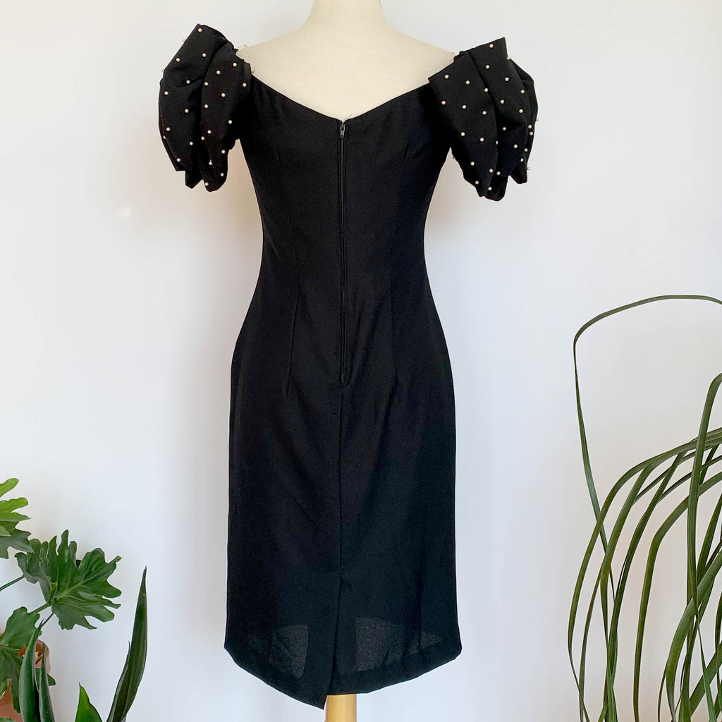 80's Black Puffy Sleeve Mini Dress
