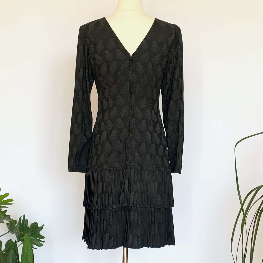 Black Long Sleeve Drop Waist Silk Dress