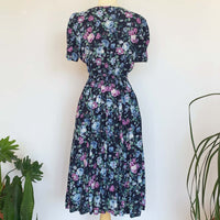 80's Lace Collar Blue Floral Dress